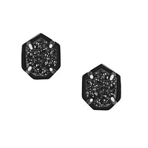 Kendra Scott Logan Black Druzy Stud Earrings